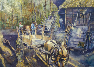 Rural life of Kashmir by Masood Hussain, Illustration, Realism Painting, Watercolor on Paper, Flint color