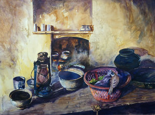 Rural Kitchen of Kashmir by Masood Hussain, Realism Painting, Watercolor on Paper, Heathered Gray color