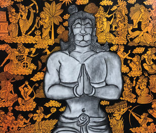 Anjaneya by Mrinal Dutt, Illustration Painting, Acrylic & Graphite on Canvas, Eerie Black color
