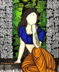 Mayuri Digital Print by Mrinal Dutt,Illustration