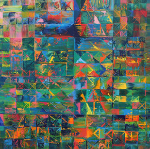 Shaking hand with nature's harmony by Nivas Kanhere, Geometrical Painting, Oil on Canvas, Cutty Sark color