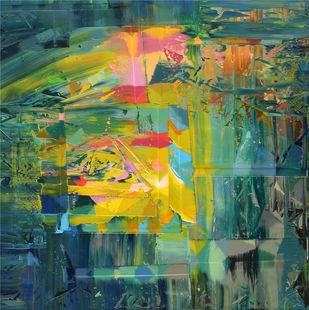 Expansion of ethereal substance by Nivas Kanhere, Abstract Painting, Oil on Canvas, Mineral Green color