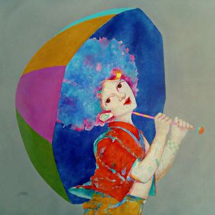 The Childhood 16 by shiv kumar soni, Conceptual, Illustration Painting, Acrylic on Canvas, Mummys Tomb color