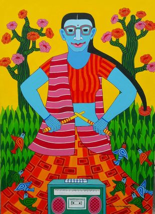 Untitled by Thota Laxminarayana, Expressionism Painting, Acrylic on Canvas, Green Pea color