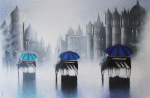 Victoria Ride In Mumbai by Somnath Bothe, Illustration Painting, Charcoal and Acrylic on Canvas, Bombay color