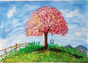 Serene and Peaceful! by M R Kalpana Jyothirmayee, Illustration, Impressionism Painting, Acrylic on Canvas, Heather color