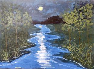 Horizon! by M R Kalpana Jyothirmayee, Illustration Painting, Acrylic on Canvas, Willow Grove color