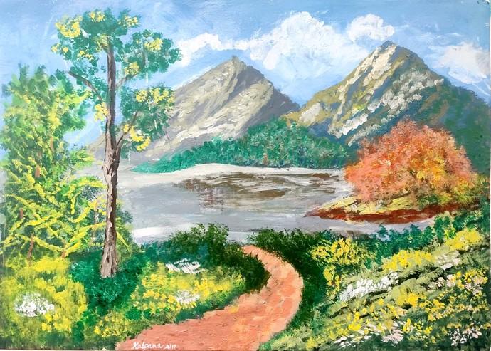 Beautifu Mountains! by M R Kalpana Jyothirmayee, Illustration, Impressionism Painting, Acrylic on Canvas, Indian Khaki color