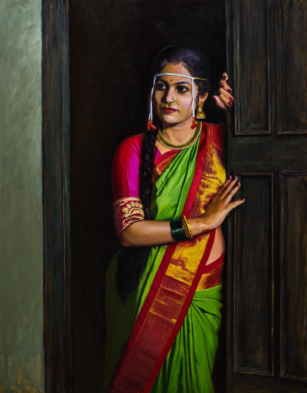 Bridal by Mahesh Soundatte, Illustration, Realism Painting, Oil on Linen, Zeus color