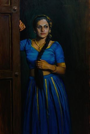 A waiting by Mahesh Soundatte, Realism Painting, Oil on Linen, Woodsmoke color