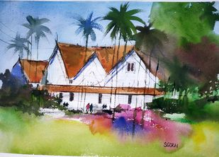 Lonely Cottage by Santosh Gorai, Illustration Painting, Watercolor on Paper, Loblolly color