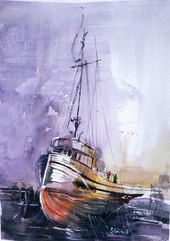 Sailors by Santosh Gorai, Illustration Painting, Watercolor on Paper, Lavender Gray color