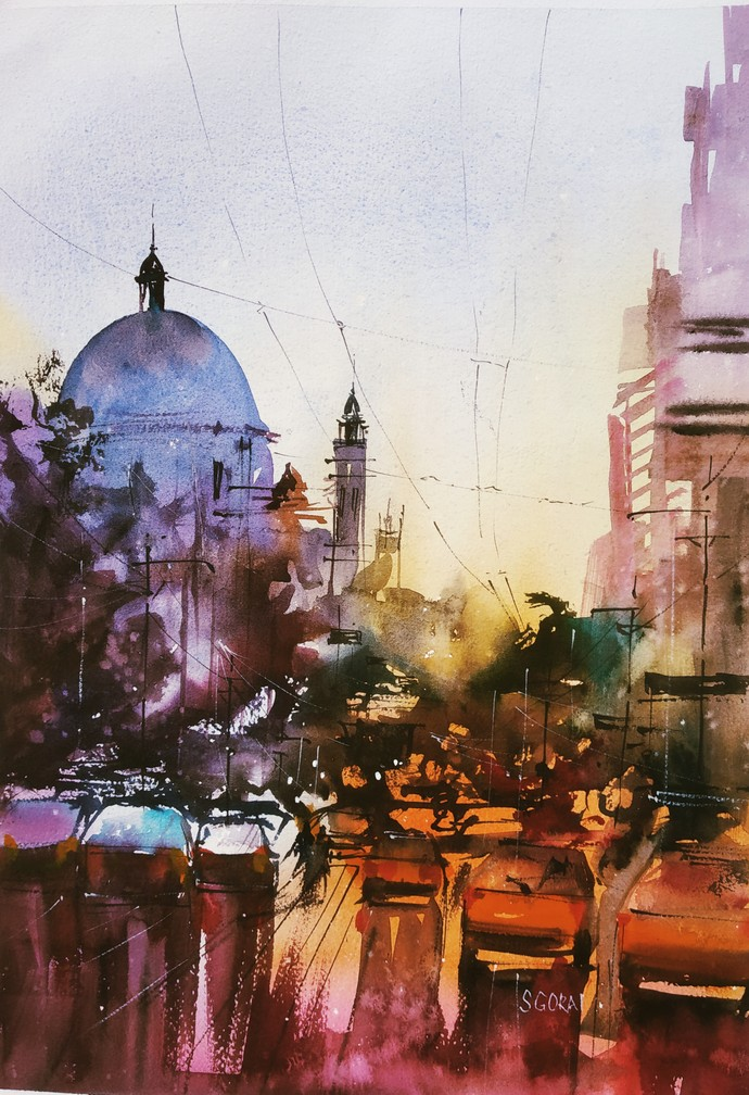 Night delight by Santosh Gorai, Illustration Painting, Watercolor on Paper, Swiss Coffee color