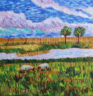 Sheep in the pastures by Keerthana, Impressionism Painting, Acrylic on Canvas,
