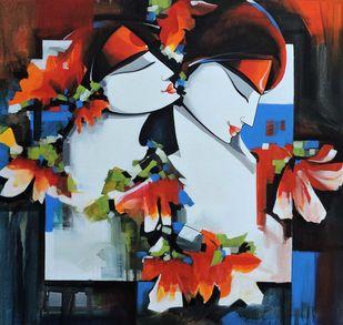 love song by pradeesh k raman, Conceptual, Illustration Painting, Acrylic on Canvas, Shark color