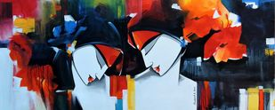 love by pradeesh k raman, Conceptual, Illustration Painting, Acrylic on Canvas, Ebony Clay color