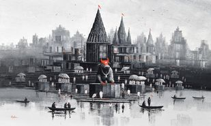 Nandi on Banaras Ghat - 6 by Reba Mandal, Illustration Painting, Acrylic on Canvas, Tuna color