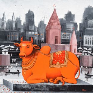 Nandi on Banaras Ghat - 8 by Reba Mandal, Decorative, Illustration Painting, Acrylic on Canvas, Pale Slate color