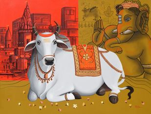 Nandi on Banaras Ghat - 9 by Reba Mandal, Decorative, Illustration Painting, Charcoal and Acrylic on Canvas, Tuscany color