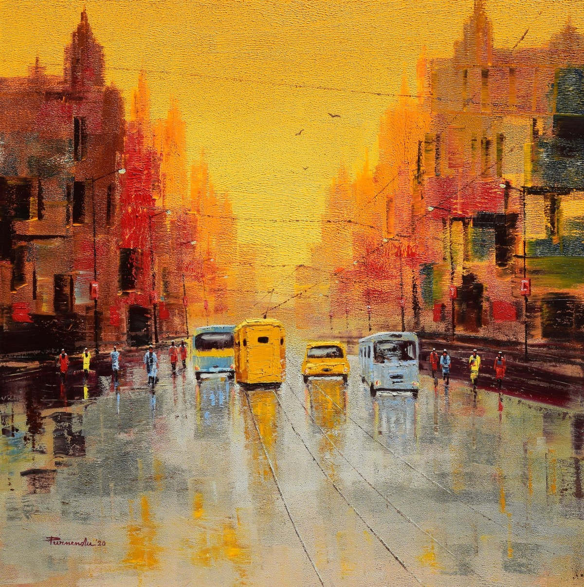 Good Morning Kolkata by Purnendu Mandal, Expressionism Painting, Oil on Canvas, Tussock color