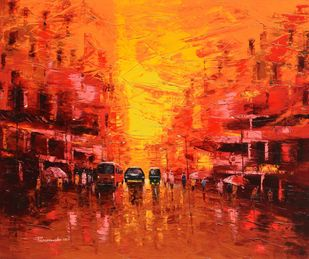 First Light - 1 by Purnendu Mandal, Expressionism Painting, Oil on Canvas, Punch color