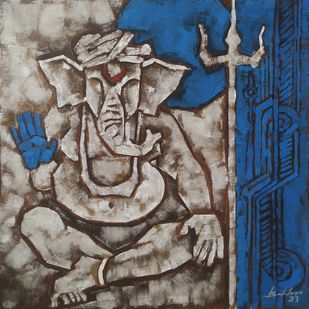 Shree Ganesh by Balbir Singh, Expressionism Painting, Acrylic on Canvas, Gray color