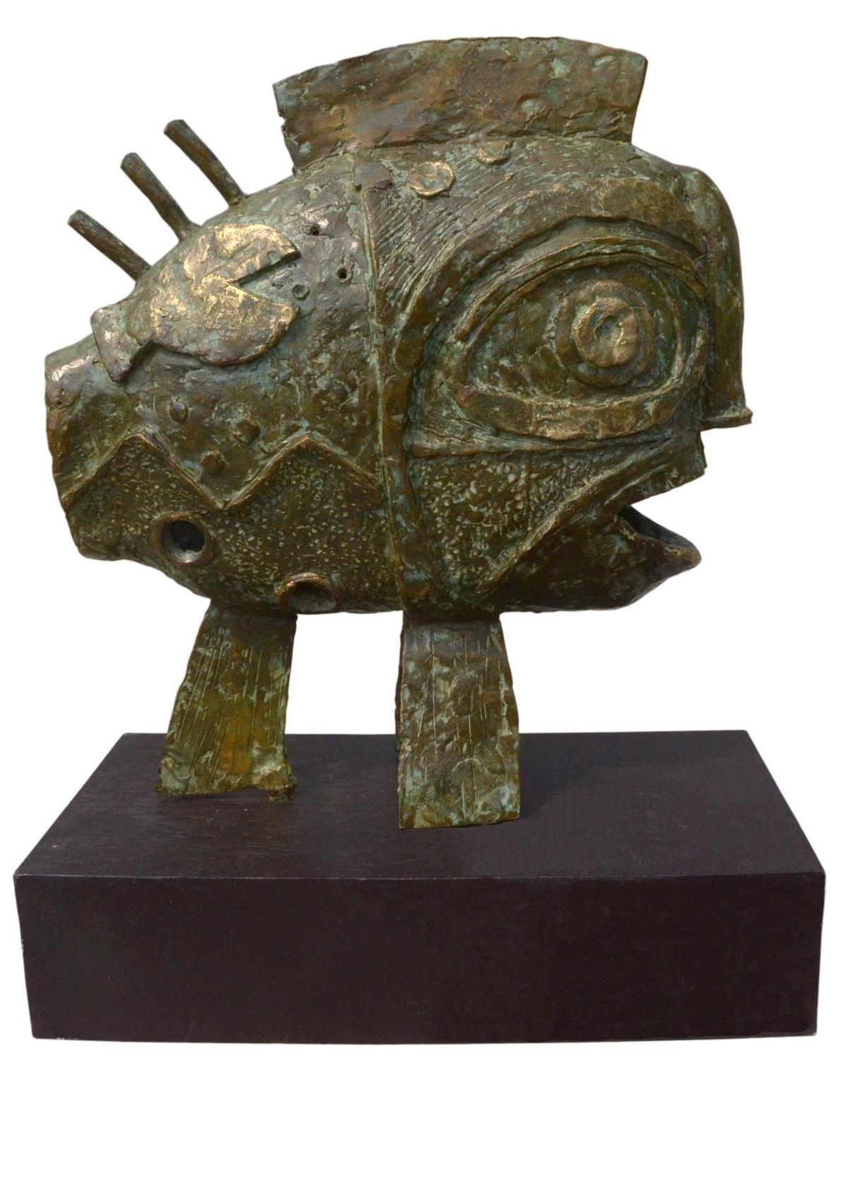 The fish by Atish Mukherjee, Art Deco Sculpture   3D, Bronze, Birch color