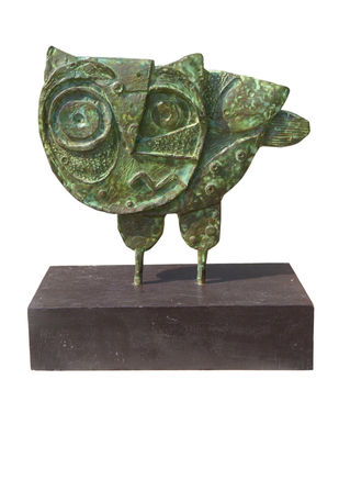 The owl by Atish Mukherjee, Art Deco Sculpture | 3D, Bronze, Fuscous Gray color