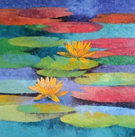 Waterlilies by Swati Kale, Illustration Painting, Oil on Canvas, Blue Smoke color
