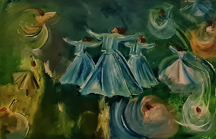 Whirling Dervishes by Poornima Dayal, Conceptual, Illustration Painting, Acrylic on Canvas, Green Kelp color
