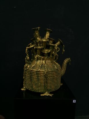 Musical kettle by Izhar Alam, Art Deco Sculpture   3D, Mixed Media, Rangoon Green color