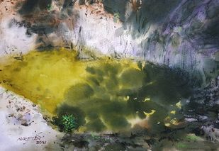 Beauty of Nature by Niketan Bhalerao, Illustration Painting, Watercolor on Paper, Cabbage Pont color