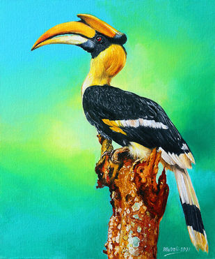 Hornbill by Muralidhar Suvarna, Illustration, Realism Painting, Oil & Acrylic on Board, Laser color