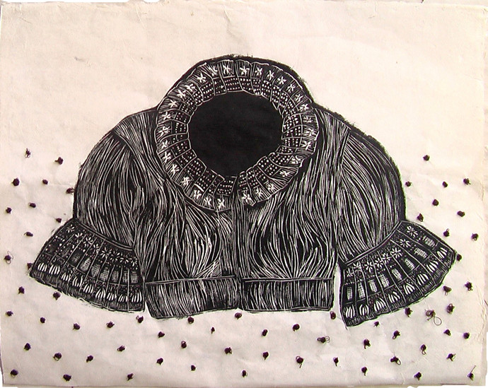 Fragments from Past-1 by Dimple B Shah, Art Deco, Decorative Printmaking, Wood Cut on Paper, Bizarre color