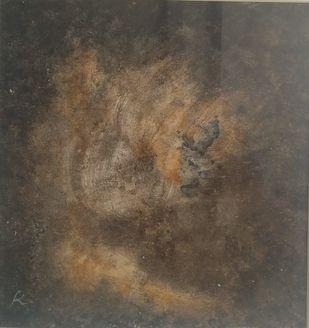 Seasons by M.J. Kamalakshi, Abstract Painting, Acrylic on Board, Soya Bean color