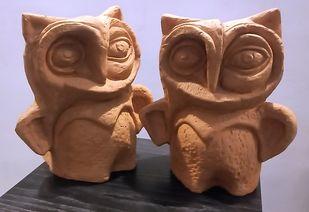 A Pair of Owls by Atish Mukherjee, Art Deco Sculpture | 3D, Terracotta, Quincy color