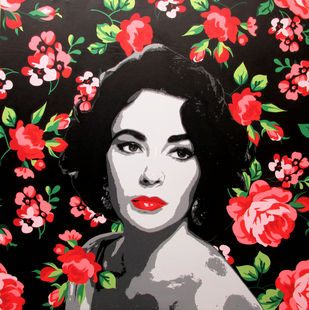 ELIZABETH TAYLOR by Sujit Karmakar, Pop Art Painting, Acrylic on Canvas, Black color