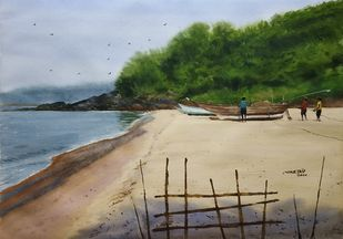 A Beach Side by Niketan Bhalerao, Illustration Painting, Watercolor on Paper, Gray color