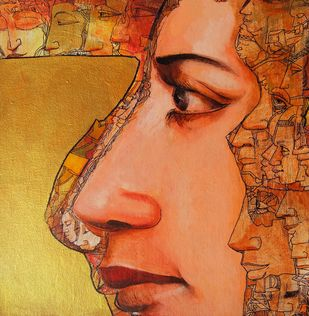 Past Memories by Dilawar Khan, Illustration Painting, Acrylic on Board, Orange color