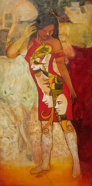 Musical Journey by Dilawar Khan, Conceptual, Illustration Painting, Acrylic on Canvas, Orange color