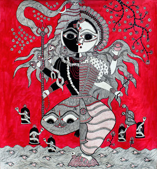 Madhubani Painting by Unknown Artist, Folk Painting, Acrylic on Canvas, Red color