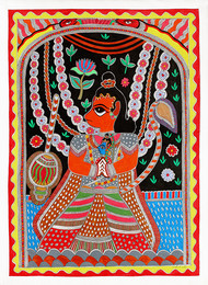 Madhubani Painting by Unknown Artist, Folk Painting, Acrylic on Paper, Silver color
