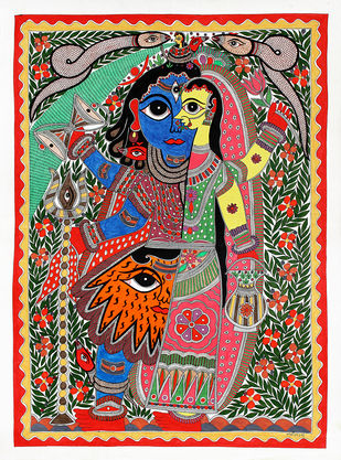 Madhubani Painting by Unknown Artist, Folk Painting, Acrylic on Paper, White color