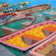boat Fair by Barkha jain, Decorative, Illustration Painting, Acrylic on Canvas, Orange color