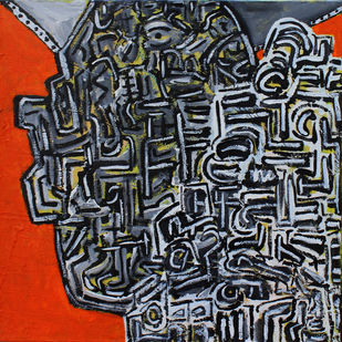 Untitled by Pallav Chander, Abstract Painting, Acrylic on Canvas, Gray color