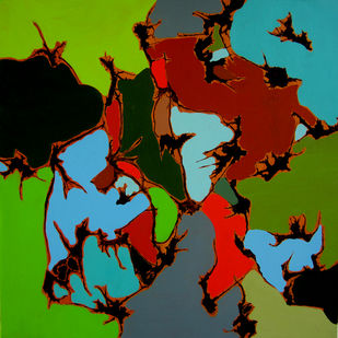 Through the prism of life by Deepali S, Conceptual Painting, Acrylic on Canvas, Black color