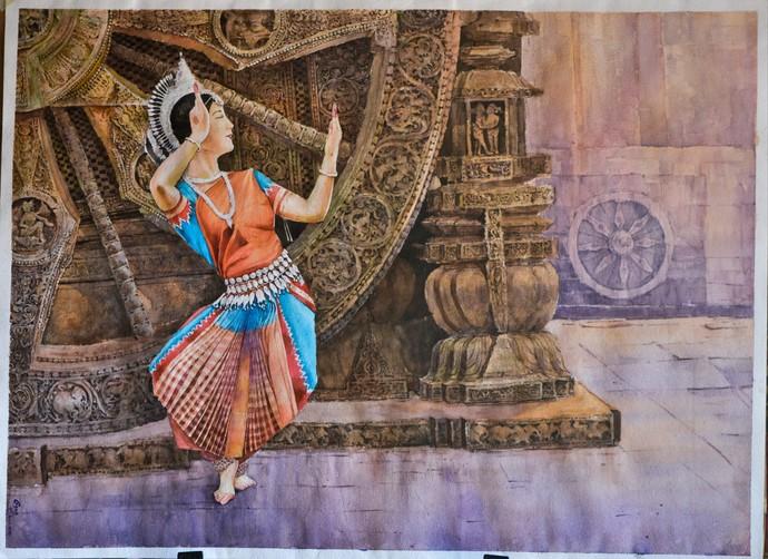 Odishi@suntemple by Gagan kumar Mohanta, Illustration Painting, Watercolor on Paper, Gray color