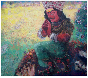 THE KING by SUDIP CHANDRA, Illustration Painting, Tempera on Canvas, Gray color