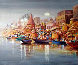 Evening Varanasi Ghats by Samiran Sarkar, Illustration, Realism Painting, Acrylic on Canvas, Gray color