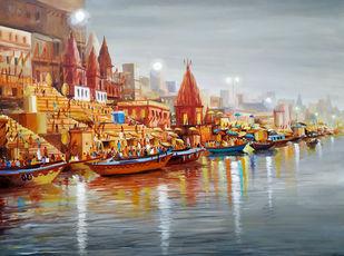 Evening Varanasi Ghats II by Samiran Sarkar, Illustration, Realism Painting, Acrylic on Canvas, Silver color